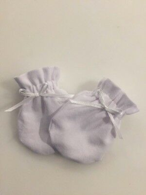 2 Pair White Cotton Lycra Baby Newborn Mittens Gloves