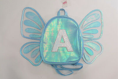 """NWT Justice Girls Mini Butterfly Wing Backpack Initial """"A"""" Name School Preschool"""