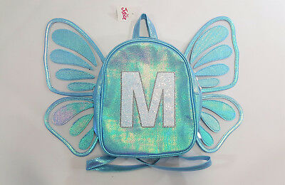 """NWT Justice Girls Mini Butterfly Wing Backpack Initial """"M"""" Name School Preschool"""