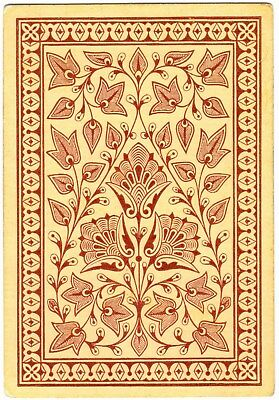 1 SINGLE ANTIQUE Playing Card WIDE SQUARE CORNER FLOWERS LEAVES