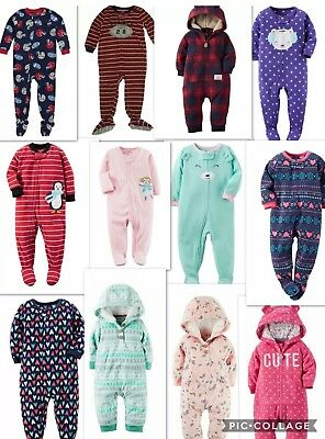 Carters Baby & Toddler Warm Cozy Fleece Jumpsuits, All in one. Boys & Girls PJs
