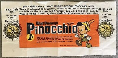 Walt Disney's Pinocchio Candy Wrapper 1940 -  Schutter Candy Company - Chicago