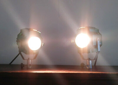 2x Bardwell McAlister TINY MAC Fresnel Photo Film Studio Spot Light Lamp Vintage