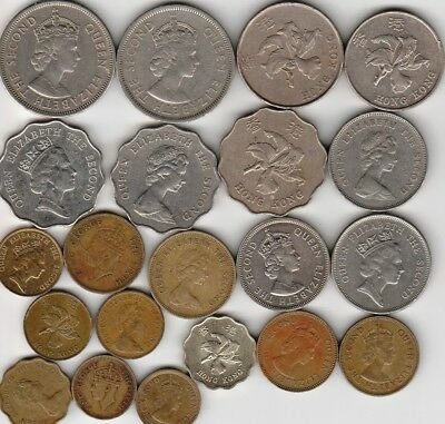 21 different world coins from HONG KONG