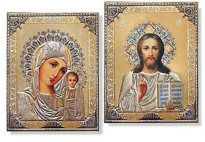 Matching PAIR Russian Icons Madonna & Child Christ the Teacher Gold Embossed