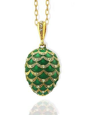Sterling Silver 925 Gold Plate Russian Green Pine Cone Egg Pendant 1 1/4 Inch