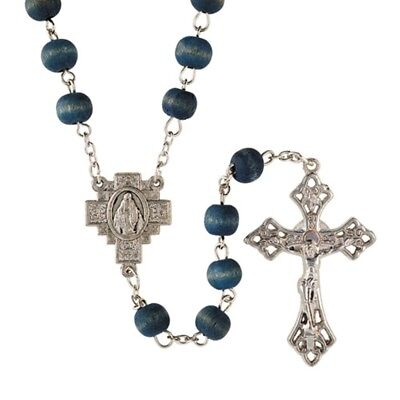 Blue Rose Scented Wood Bead Rosary with Miraculous Medal Cross Centerpiece