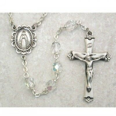 IVL April Crystal 6MM Fire Polished Aurora Glass Bead Sterling Silver Rosary