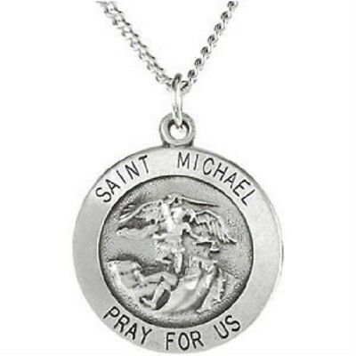 """Round Saint St Michael Protector Pray Sterling Silver Pendant Medal W 24"""" Chain"""