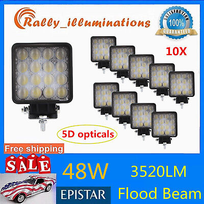 10X 48W LED Work Light Flood Driving Fog Lamp Offroad SUV Truck Jeep 12V24V 5D+