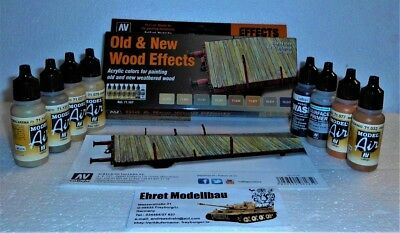Old & New Wood Effects Holz Model Air Airbrush Color 8 x 17ml Vallejo 71187 Neu