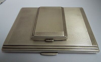 Superb Heavy English Antique 1937 Sterling Silver Cigarette Case & Match Holder