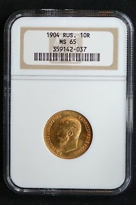 1904 Russian Impire Gold Coin 10 Rouble  Ruble NGC MS65 Russia