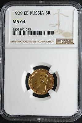 1909 Russian Impire Gold Coin 5 Rouble  Ruble Roubles NGC MS64 Russia
