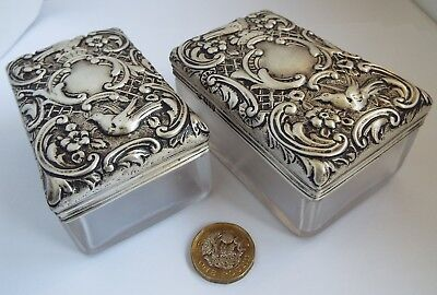Superb Large Pair English Antique 1900 Solid Sterling Silver & Glass Table Boxes