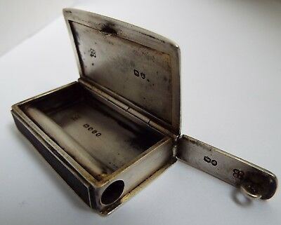 Nice Rare English Antique Victorian 1885 Solid Sterling Silver Vesta Match Box