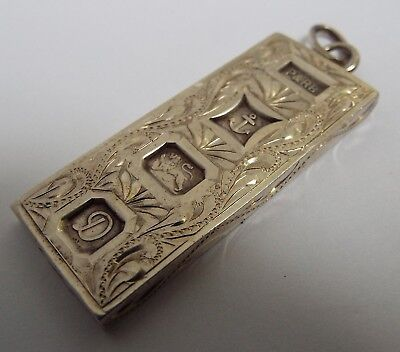 LOVELY HEAVY 1oz DECORATIVE ANTIQUE 1978 STERLING SILVER INGOT PENDANT FOB