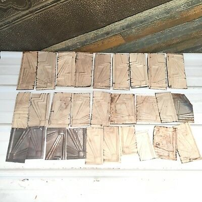 "28pc Craft Lot 8"" by 4""- Antique Ceiling Tin Metal Reclaimed Salvage Art"