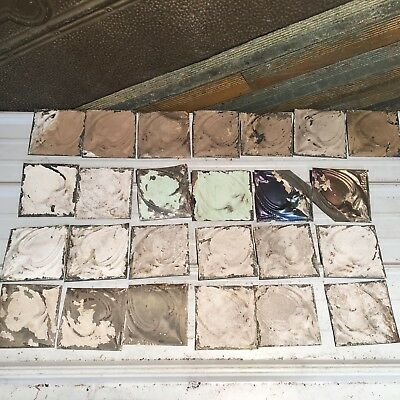 "25pc Craft Lot 5.5"" by 5.5""- Antique Ceiling Tin Metal Reclaimed Salvage Art"