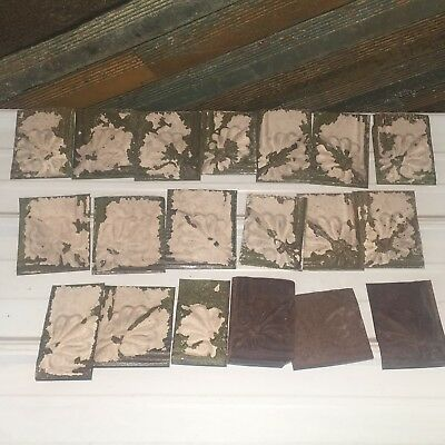 "19pc Craft Lot 5"" by 5""+- Antique Ceiling Tin Metal Reclaimed Salvage Art"