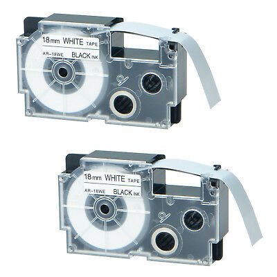 2 PK Compatible for Casio XR-18WE Black on White Label Tape for EZ Printer 18mm