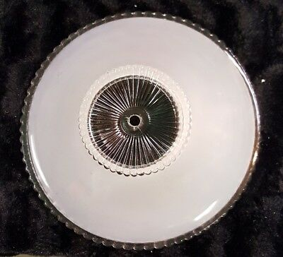 Vtg Antique White Frosted Glass One Hole Ceiling Light Fixture Shade 11 1/4""