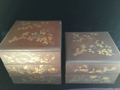 Antique Japanese Meiji 19thC pair lacquer food boxes top quality floral painted