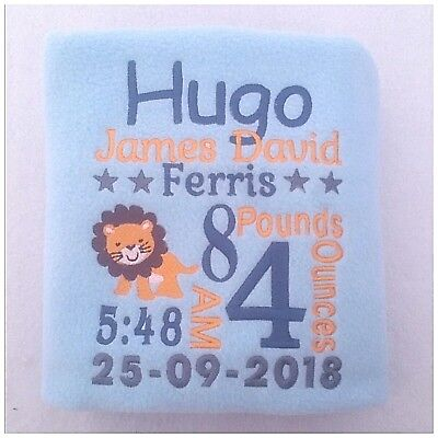 Personalised Baby/Toddler Blanket Birth Announcement Lion Theme Girl Or Boy