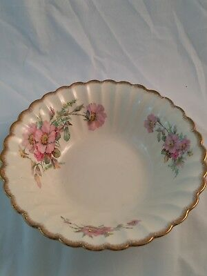 Wild Rose Golden Ware Sebring 22k Gold Serving Bowl Dish Pink Flowers Vintage