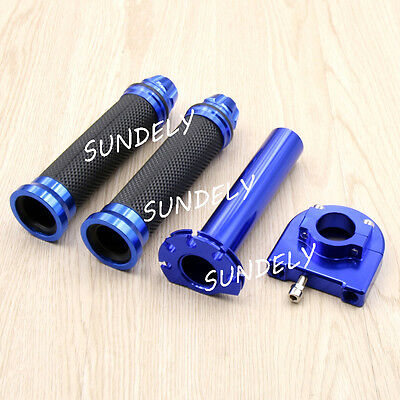 "Motorcycle Dirt Bike Scooter 7/8"" CNC Hand Grips Throttle Twist Tube Blue NEW"