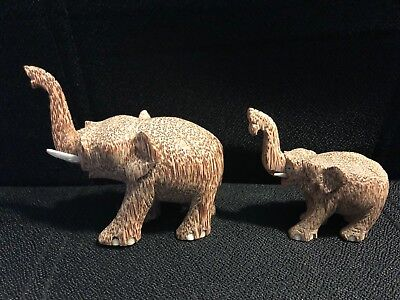 Vtg Hand Carved Exotic Solid Wood Elephant Set of 2 Lucky Trunk Up
