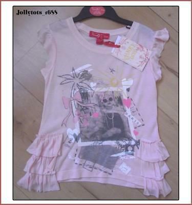 FUNKY DIVA Girls Pink T-Shirt Ages 2-6 Years Glitter Frill Ruffled Top T-Shirt