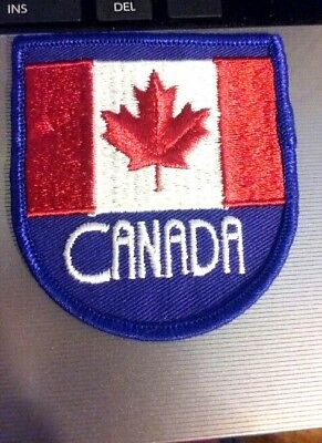 (2) Vintage sew-on CANADA MAPLE LEAF FLAG Patch 1970's
