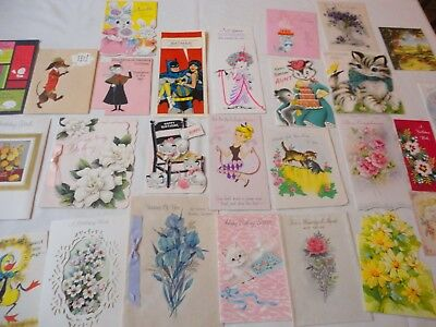 Lot of 28 Vintage Birthday Greeting Cards-Children-Relatives Great for Crafting