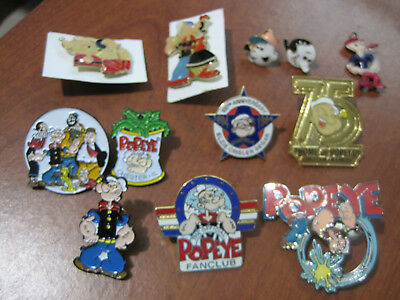 lot of 11  POPEYE lapel pins, set of earrings and charm