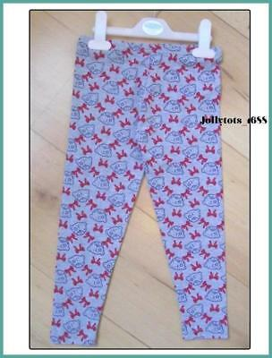 Tatty Teddy Girls Grey Leggings Age 5 Years Bears Face & Red Bow Design Cotton