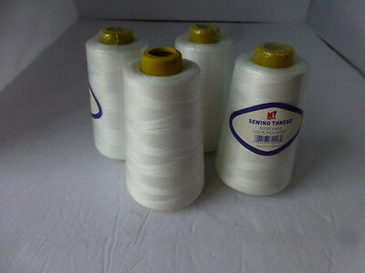 WHITE sewing TREAD cones 5000 YARDS EACH CONE POLYESTER 8 spools