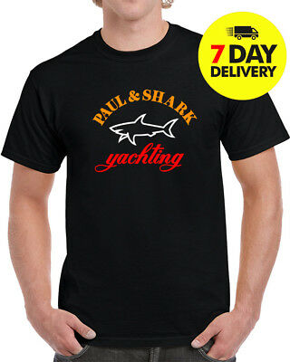 Paul and Shark Logo T Shirt Yachting New Black Edition Size S to 3XL