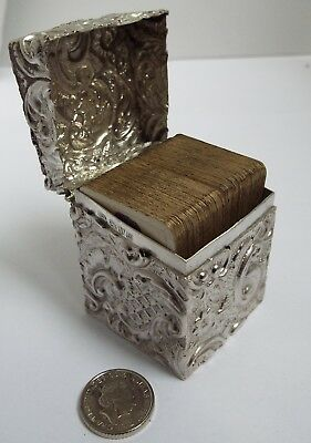 Lovely Decorative Antique 1902 Solid Sterling Silver Travel Playing Card Box