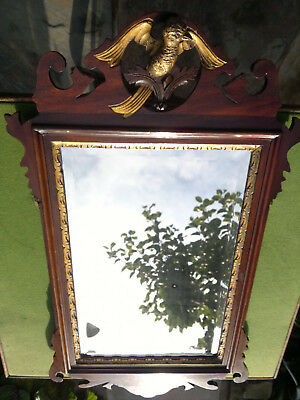 "Antique Mahogany Chippendale Style Giltwood Bevelled Mirror  27.5"" by 15.5"