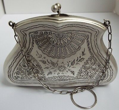 Superb Condition Large English Antique 1917 Sterling Silver Ladies Handbag Purse