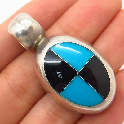 Vtg Mexico 925 Sterling Silver Black Onyx & Turquoise Inlay Pendant