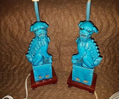 Blue Vintage Foo Dog Lamps ,beauty Pair & Work Great,great Shape