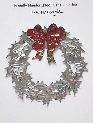 Wreath Christmas Ornament Handmade Recycled Aluminum Metal DE Mexican Beer Can