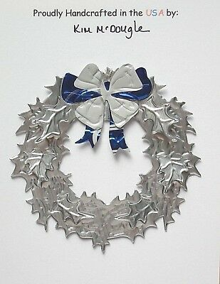 Wreath Christmas Ornament Handmade Recycled Aluminum Metal M Ultra Beer Can