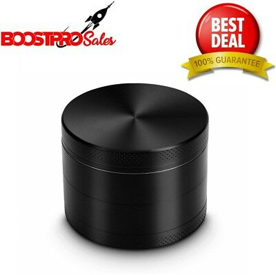 METAL HERB GRINDER 4 Piece 2 Inch Black Aluminum Spice Herbal Tobacco Crusher