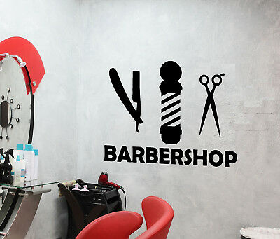 Vinyl Wall Decal Barbershop Logo Beauty Hair Salon Scissors Stickers (3081ig)