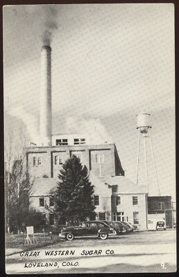 1940S Sepia Photo Post Card, Great Western Sugar Co. Loveland, Co. Old Cars +