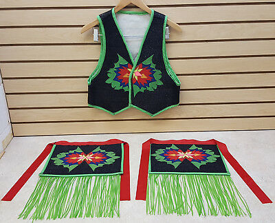 Nice Kids Hand Crafted Native American Indian Vest And Ribbon Fringe Apron Set