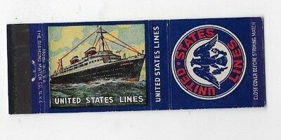 Vintage Matchbook Cover UNITED STATES LINES SS America Steamship S3927